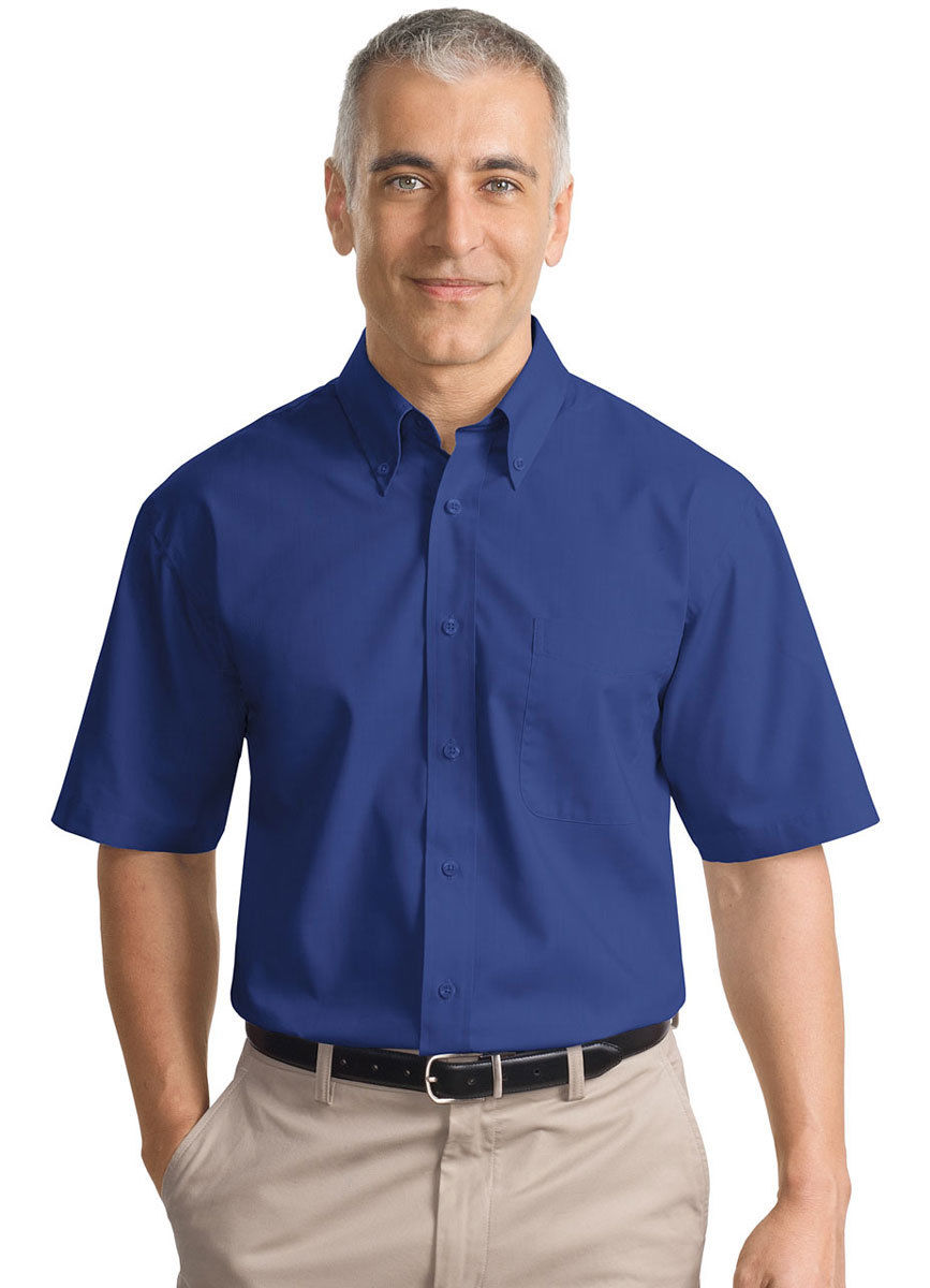 Port authority men 39 s button down collar short sleeve for Boys short sleeve button down shirt
