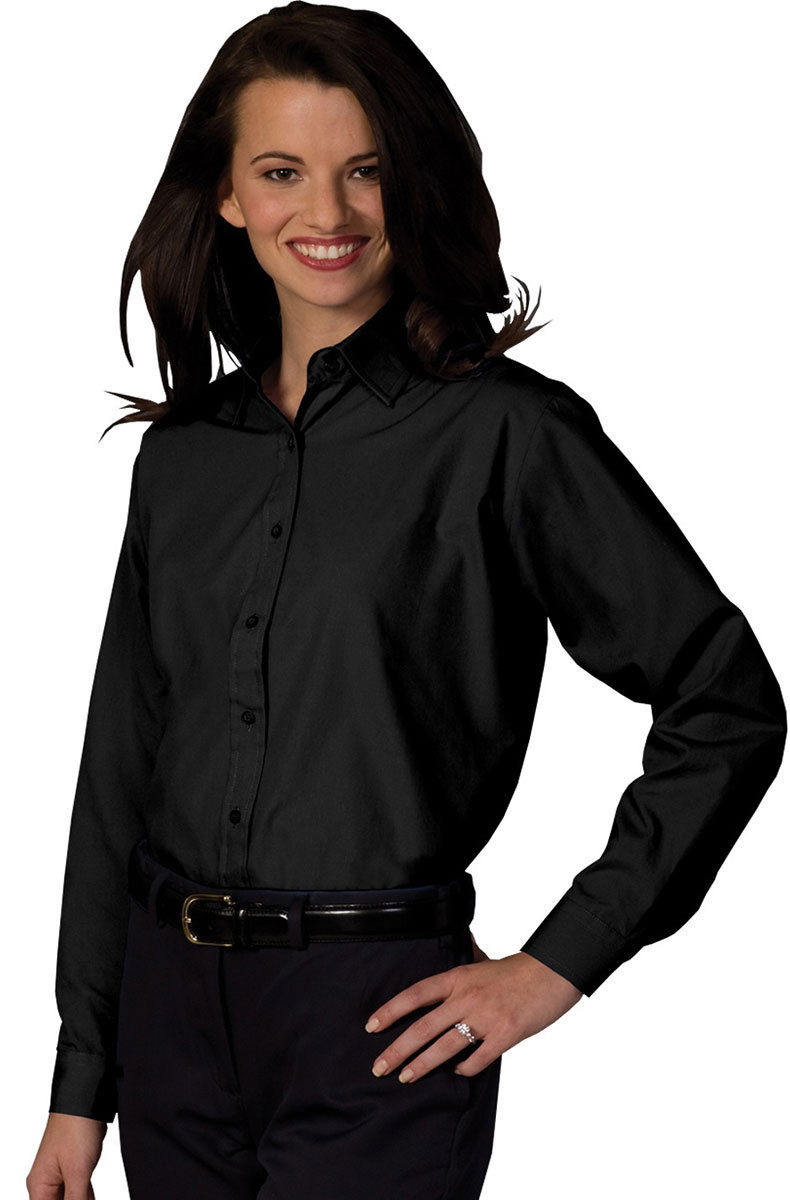 Edwards garment women 39 s long sleeve broadcloth button down for Women s button down dress shirts