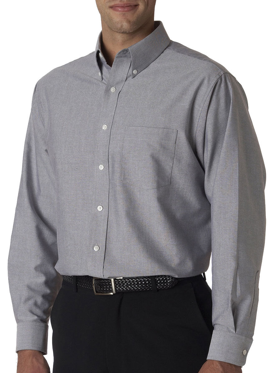 Ultraclub men 39 s classic wrinkle free long sleeve button for Wrinkle free button down shirts