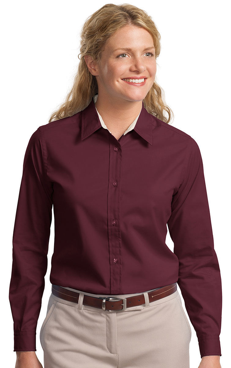 Port Authority Women's Long Sleeve Easy Care Button Front