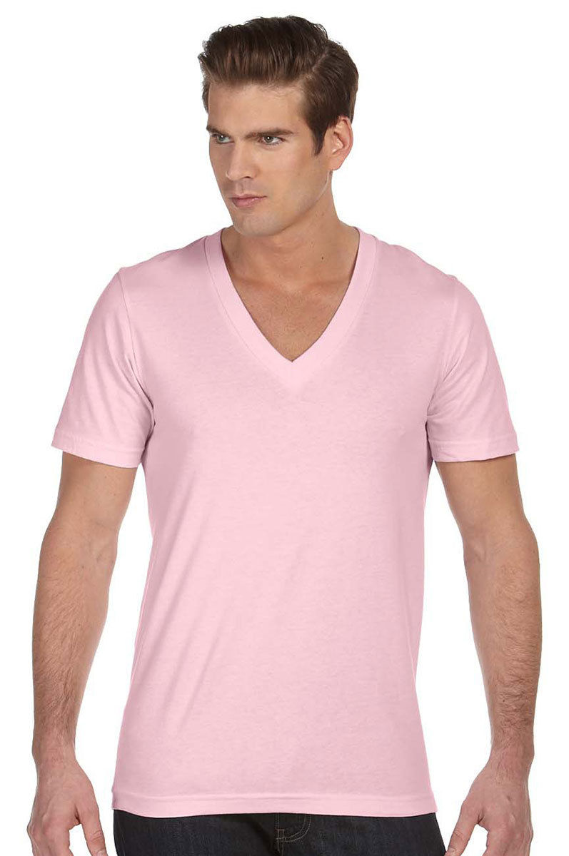 Bella canvas mens unisex deep v neck t shirt tee xs 2xl for Mens xs golf shirts