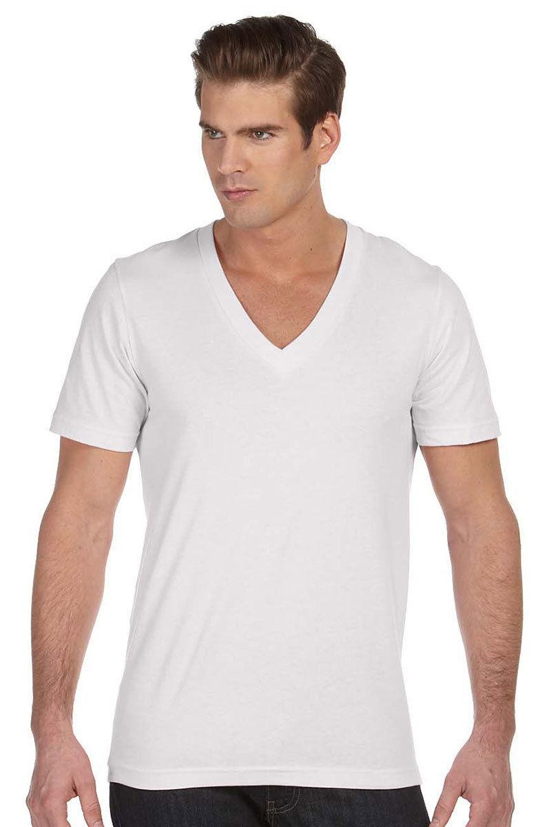 Mens White V Neck T Shirt