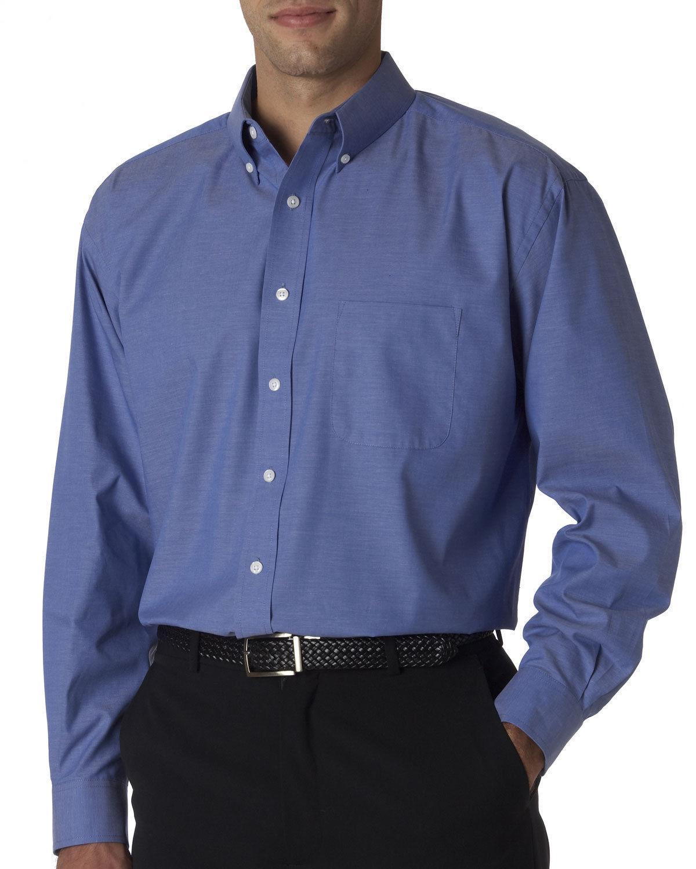 UltraClub-Men-039-s-Button-Down-Collar-Long-Sleeve-Performance-Pinpoint-Shirt-8360 thumbnail 6