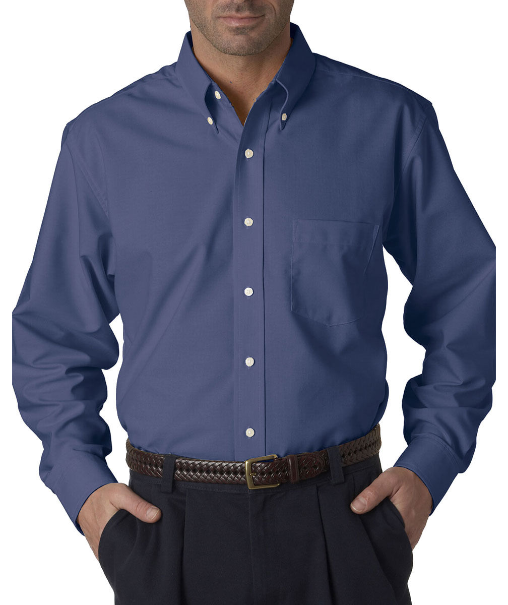 Ultraclub men 39 s classic wrinkle free long sleeve button for Men s oxford button down shirts