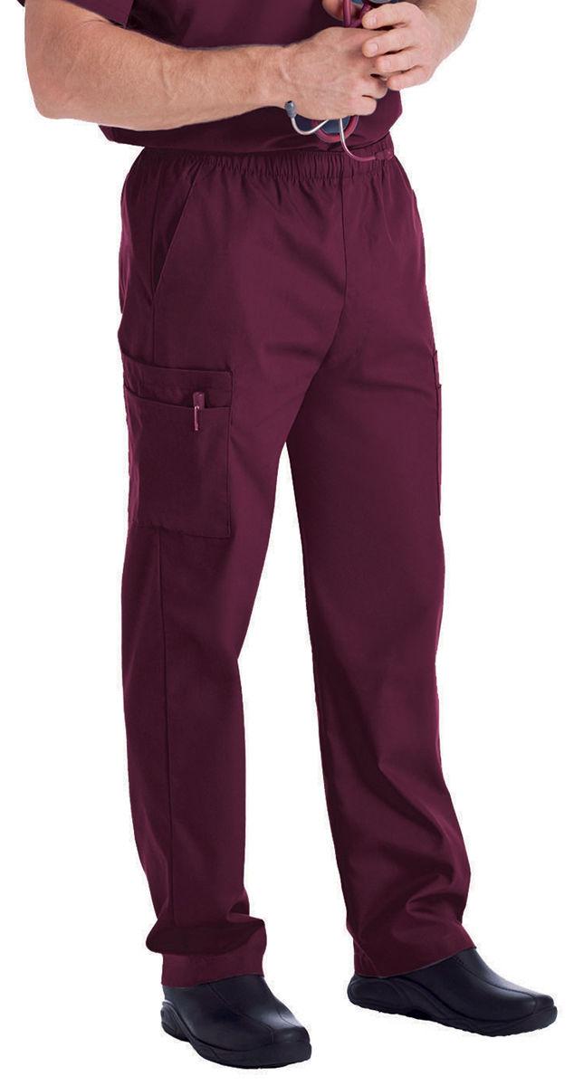 Landau Mens Zipper Front Elastic Waistband Workwear Scrubs