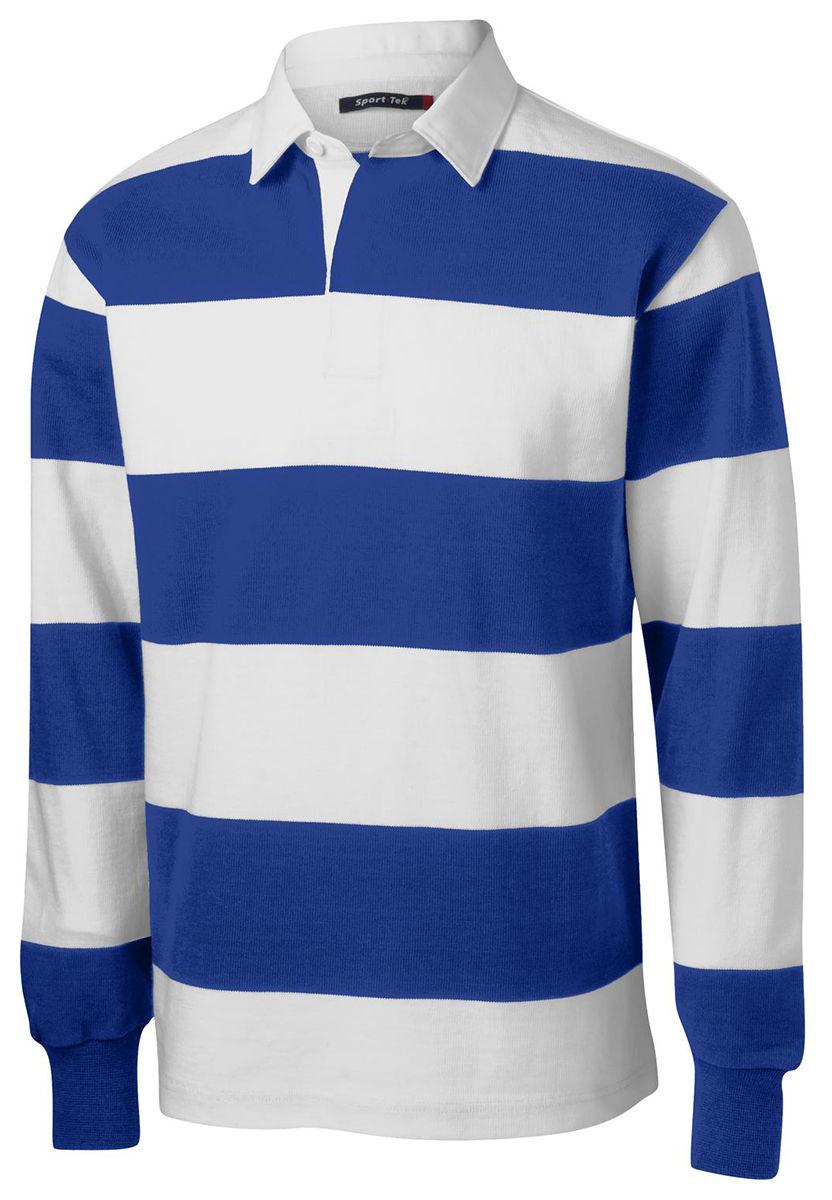 fe9dddcd7 Sport-Tek Men s Classic Long Sleeve 100% Cotton Rugby Polo Stripe Shirt.  ST300