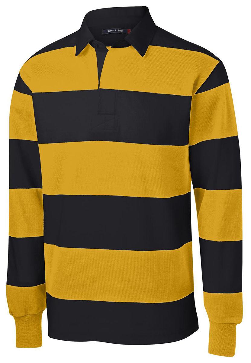 f6be9cbcba1 Sport-Tek Men's Classic Long Sleeve 100% Cotton Rugby Polo Stripe Shirt.  ST300