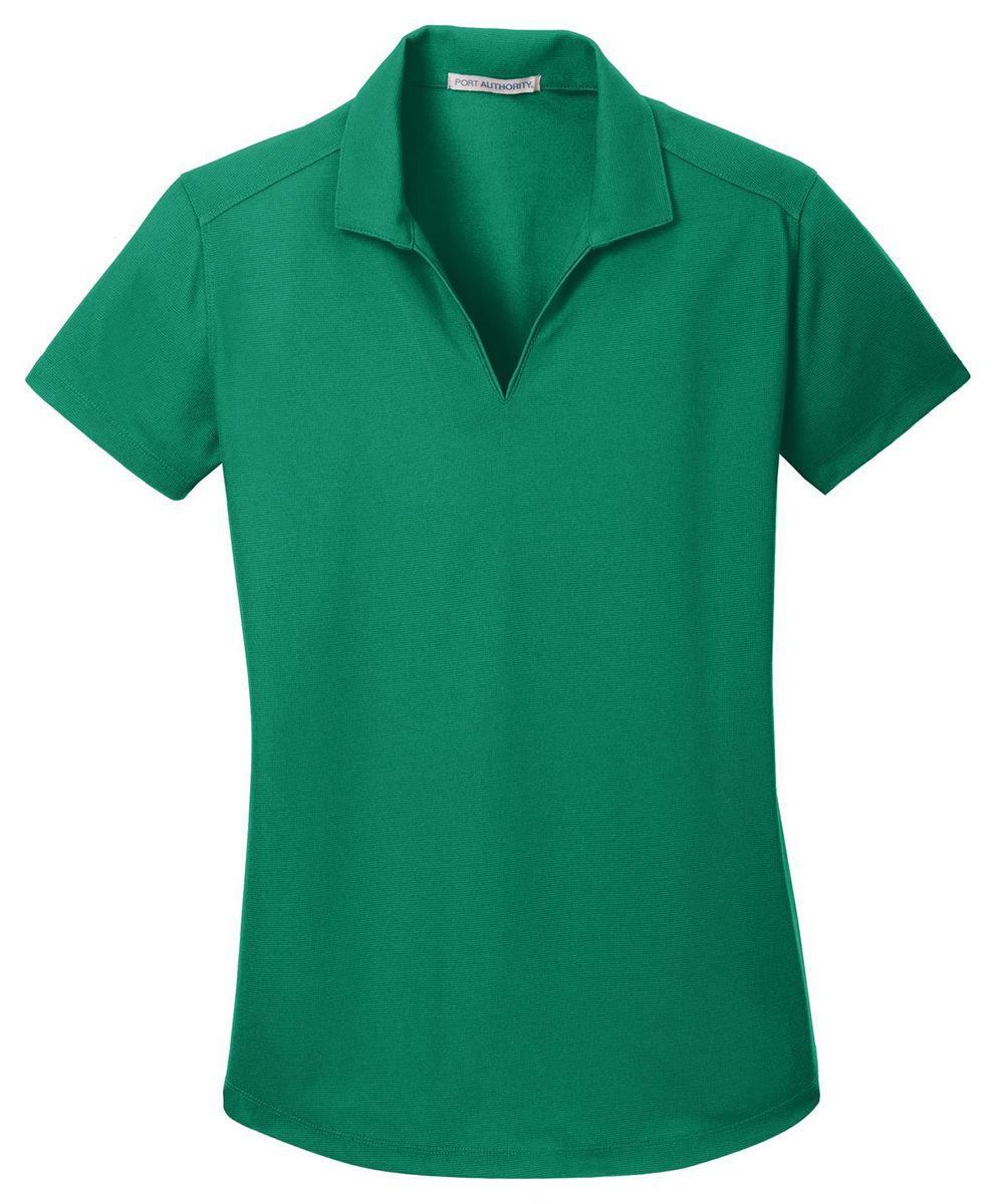 Port authority ladies polyester short sleeve v neck golf for Golf shirt vs polo shirt