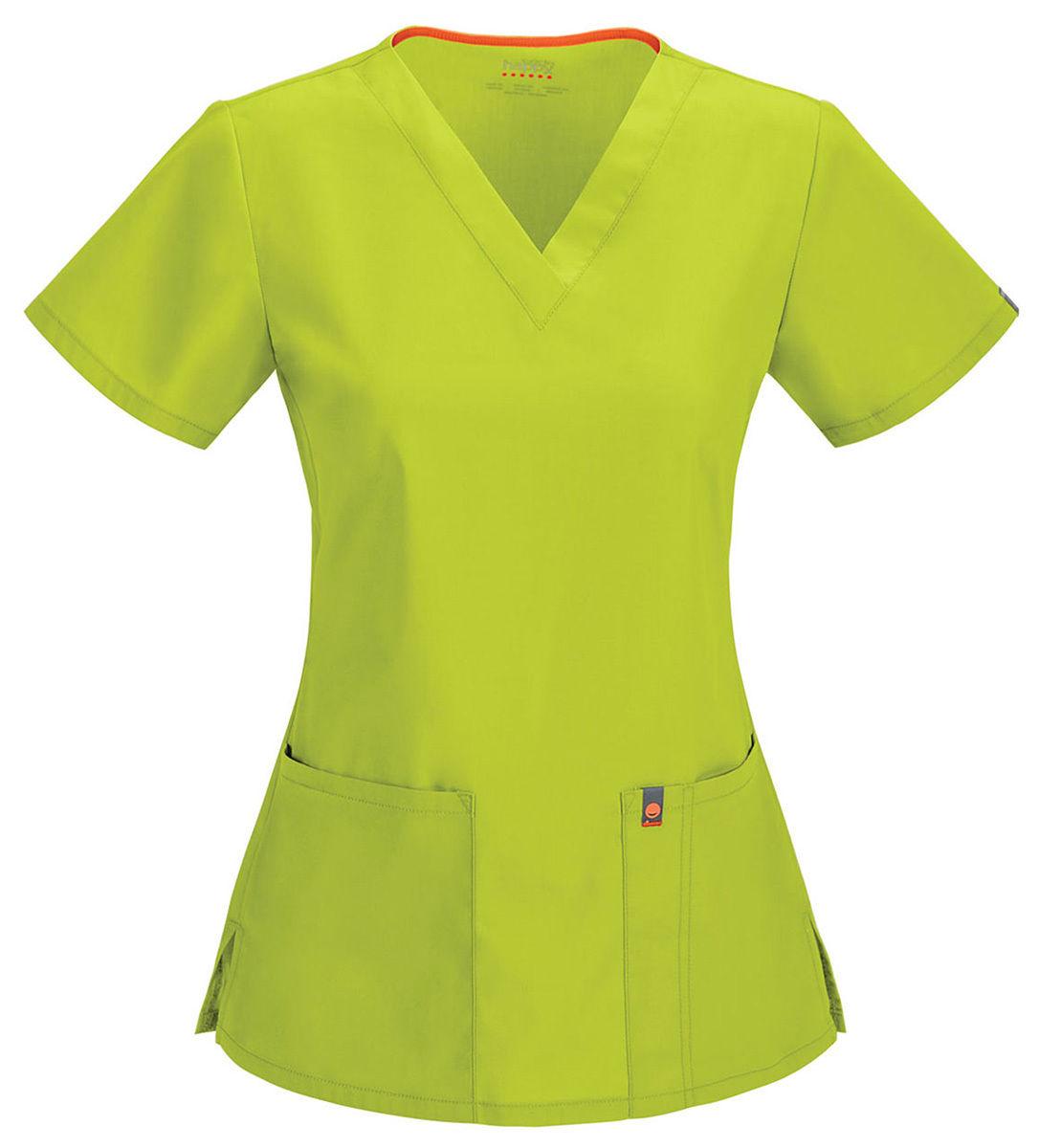 46607AB Code Happy Women/'s New Short Sleeve Front Pocket V Neck Scrub Top