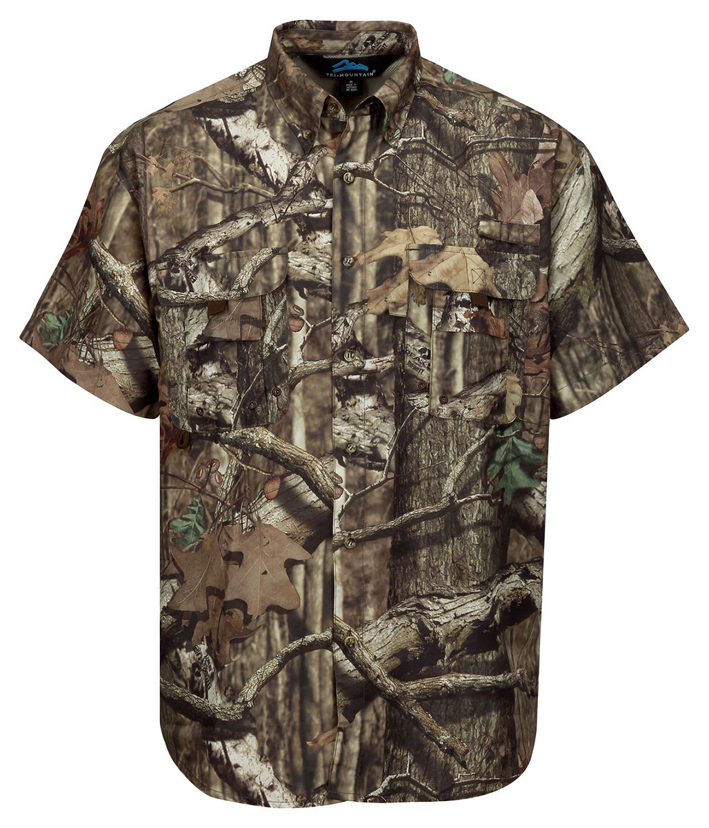 Tri mountain men 39 s polyester short sleeve button down for Polyester button up shirt