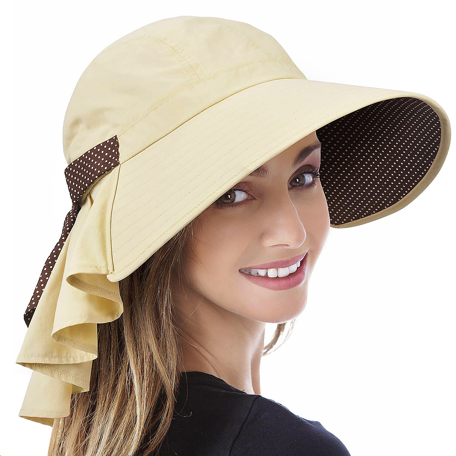 Foldable Fishing Cap Sun Hat with Sun Protection Face Neck Flap for Women Girls