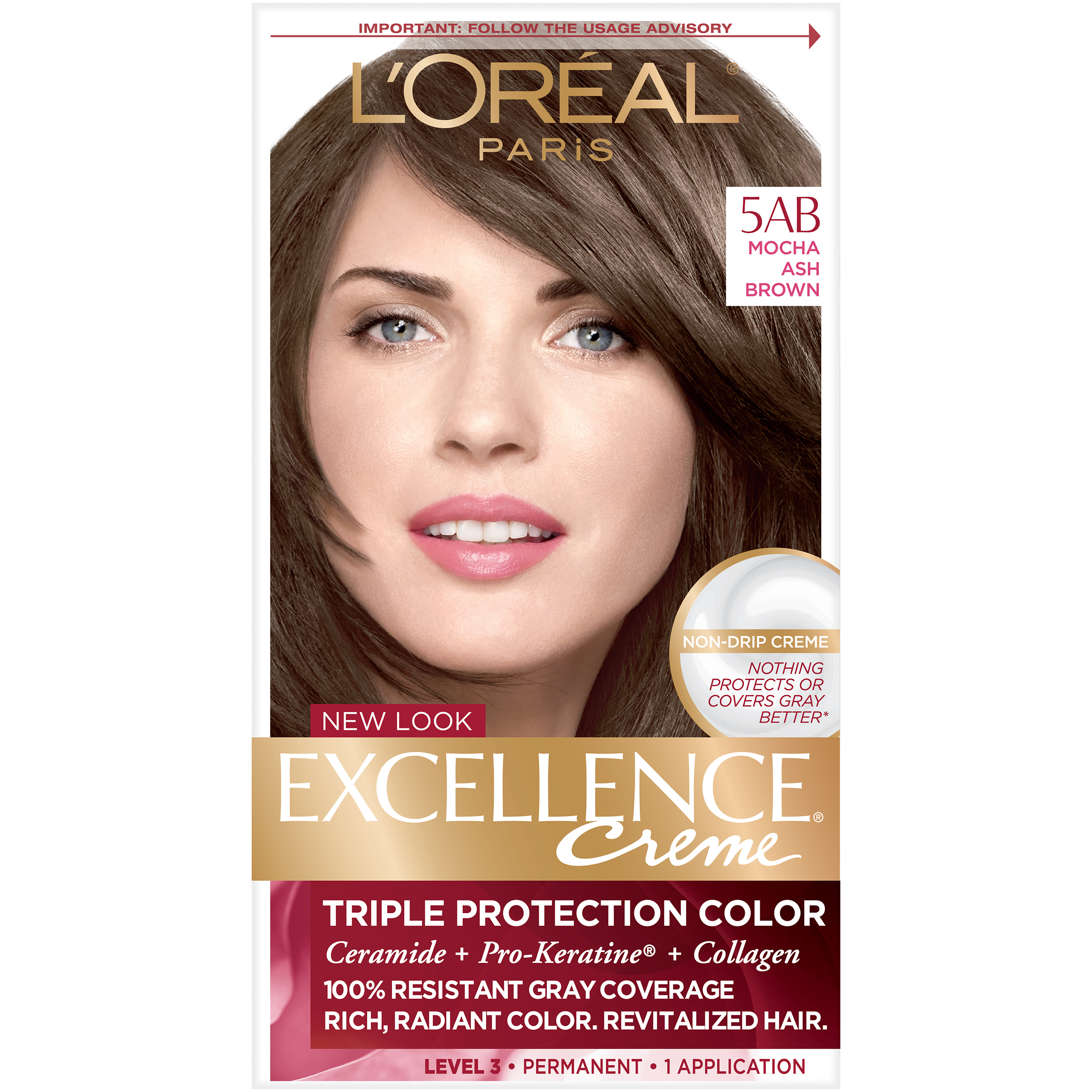 Loreal Excellence Triple Protection Hair Color Creme 5ab Mocha Ash