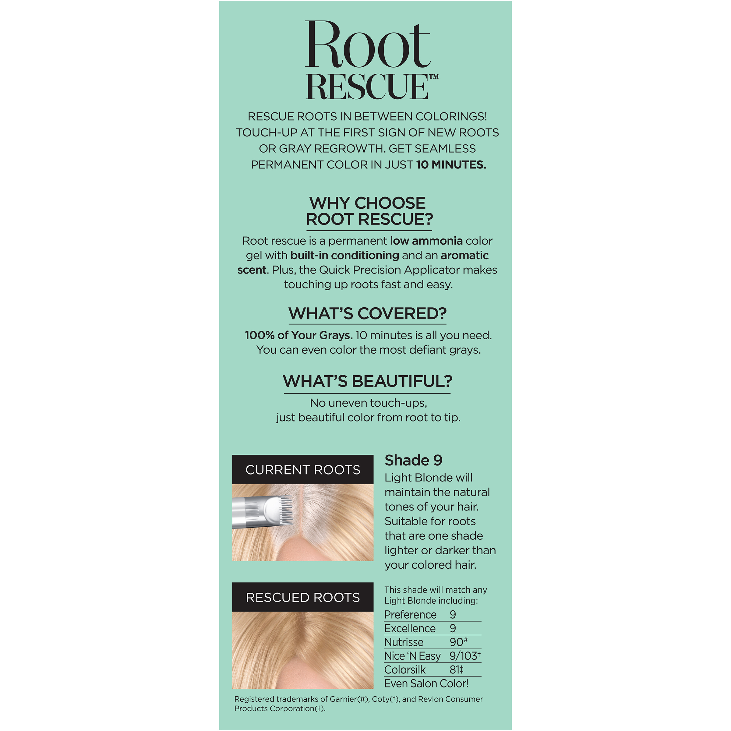 Loreal Paris Root Rescue 10 Minute Hair Color Kit Light Blonde 9
