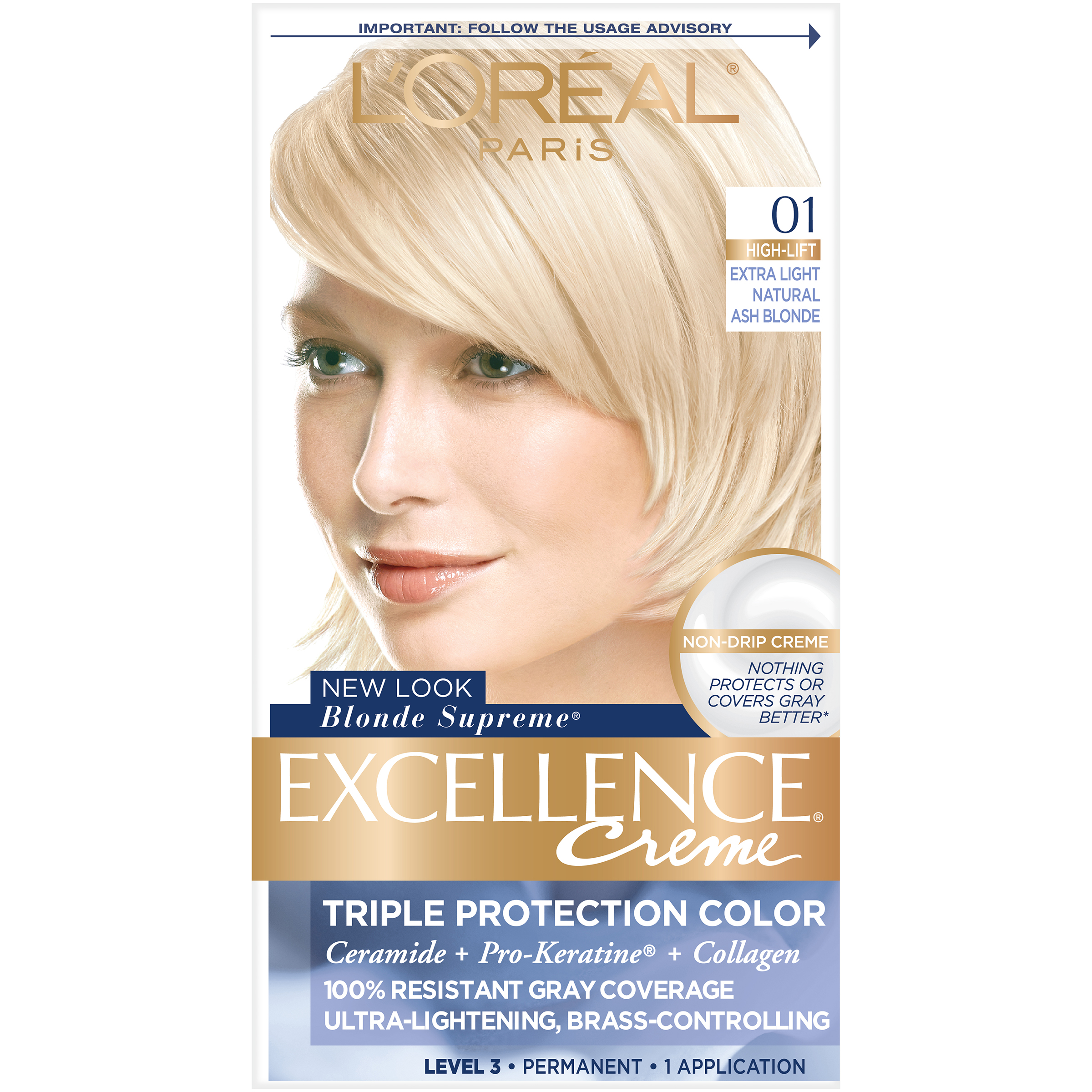 Loreal Paris Excellence Creme Hair Color Extra Light Ash Blonde 01