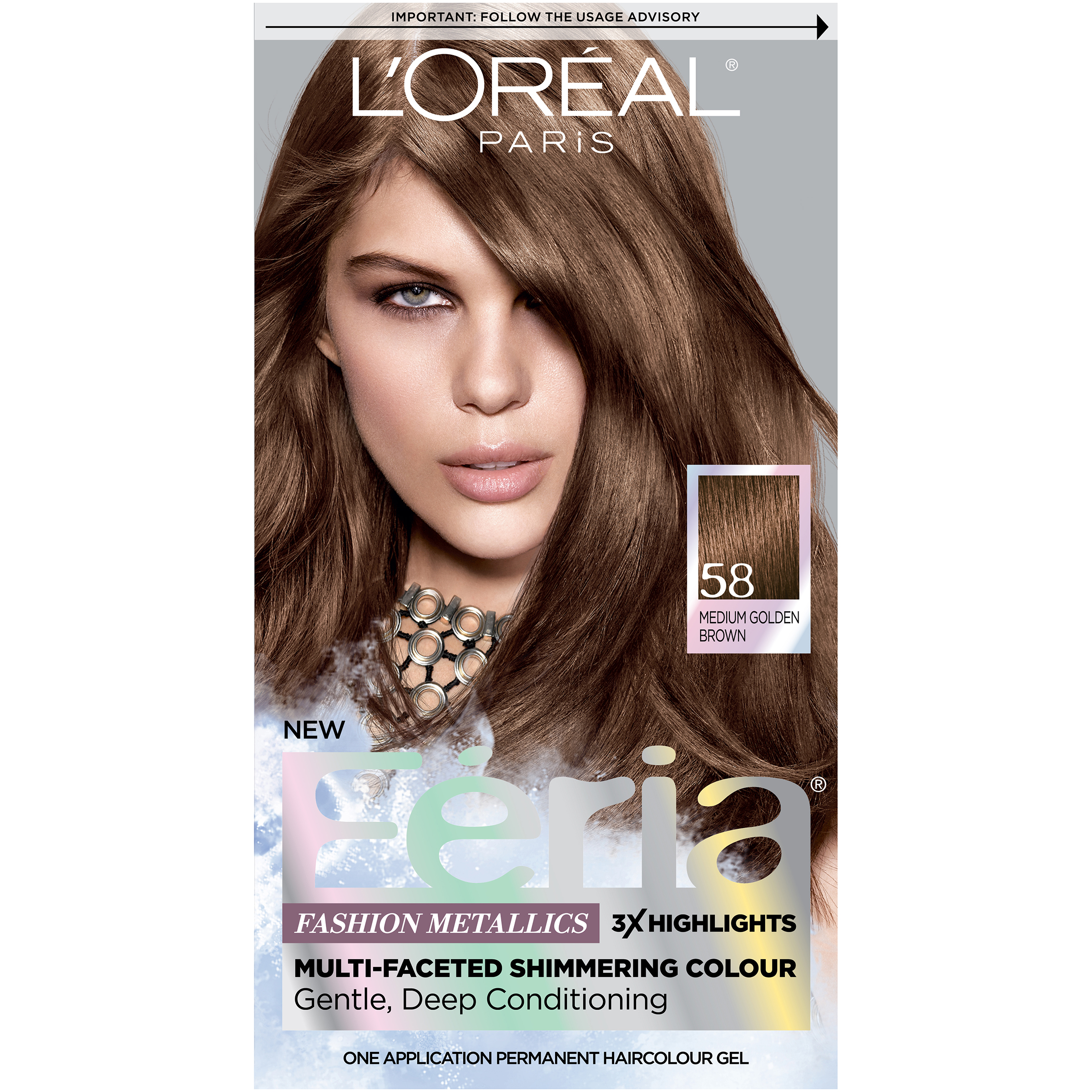 Loreal Feria Multi Faceted Shimmering Haircolor 58 Bronze Shimmer
