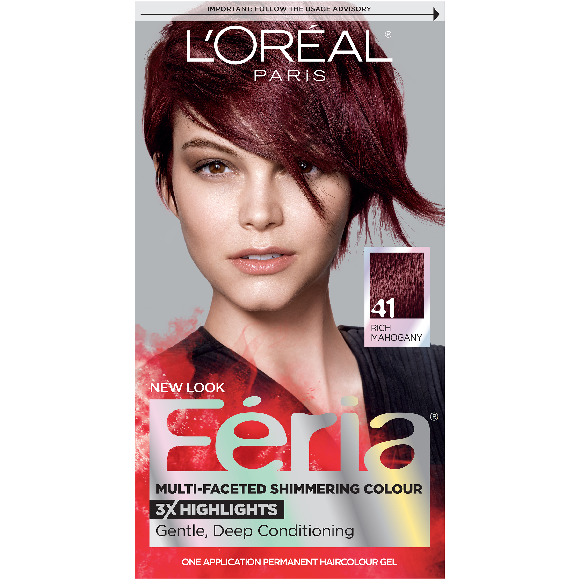 Loreal Paris Feria 41 Crushed Garnet Rich Mahogany Hair Dye Color
