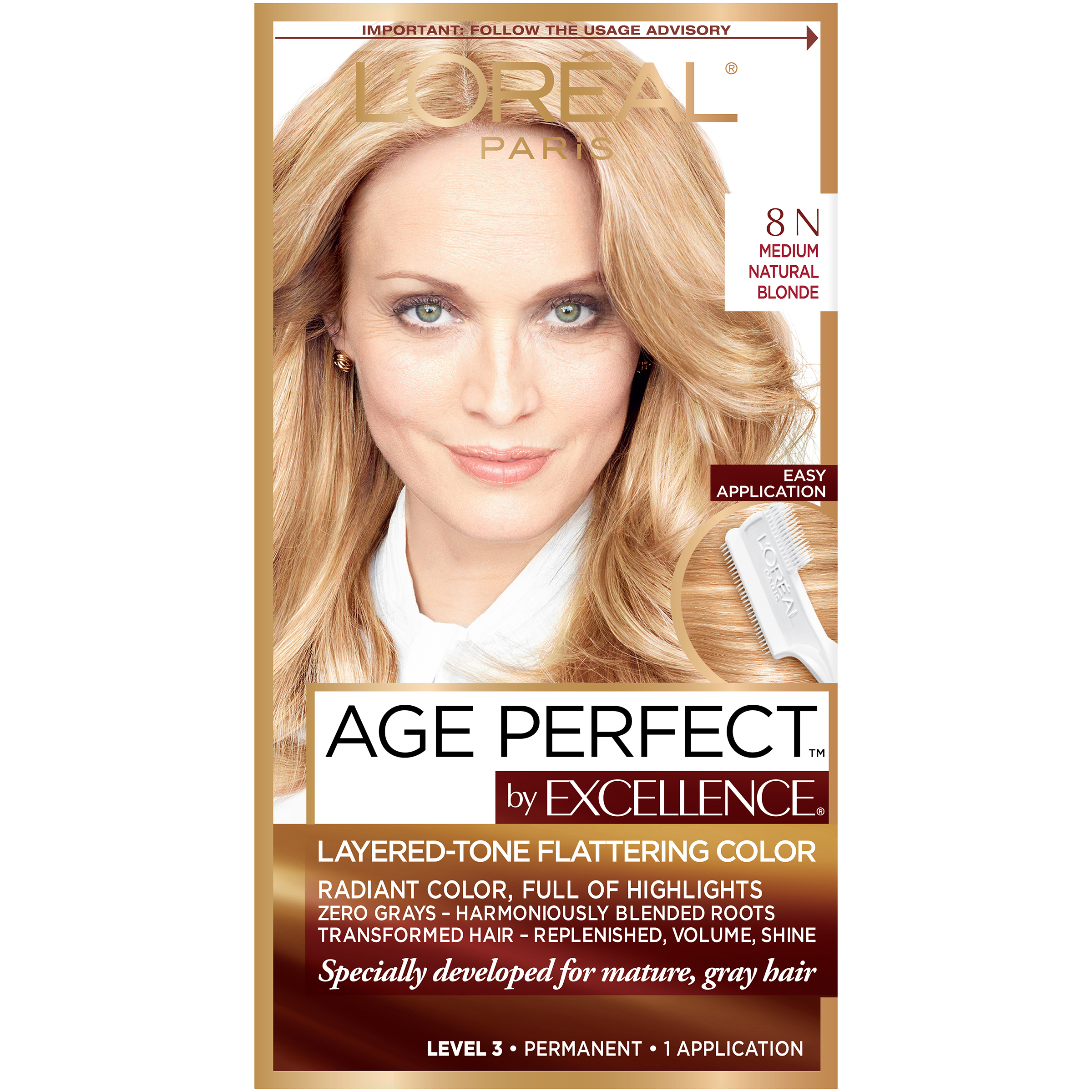 Loreal Excellence Age Permanent Hair Color 8n Medium Natural Blonde