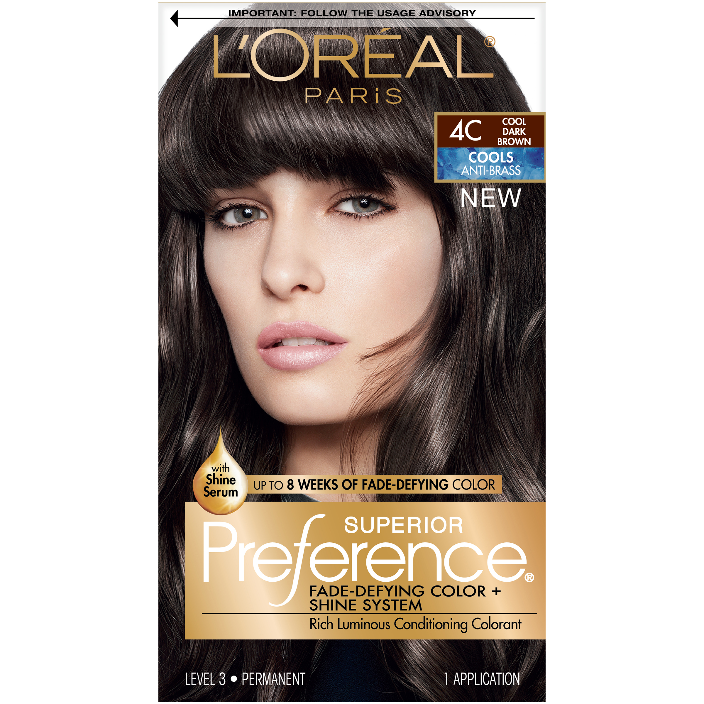 Loral Paris Superior Preference Permanent Hair Color 4c Cool Dark