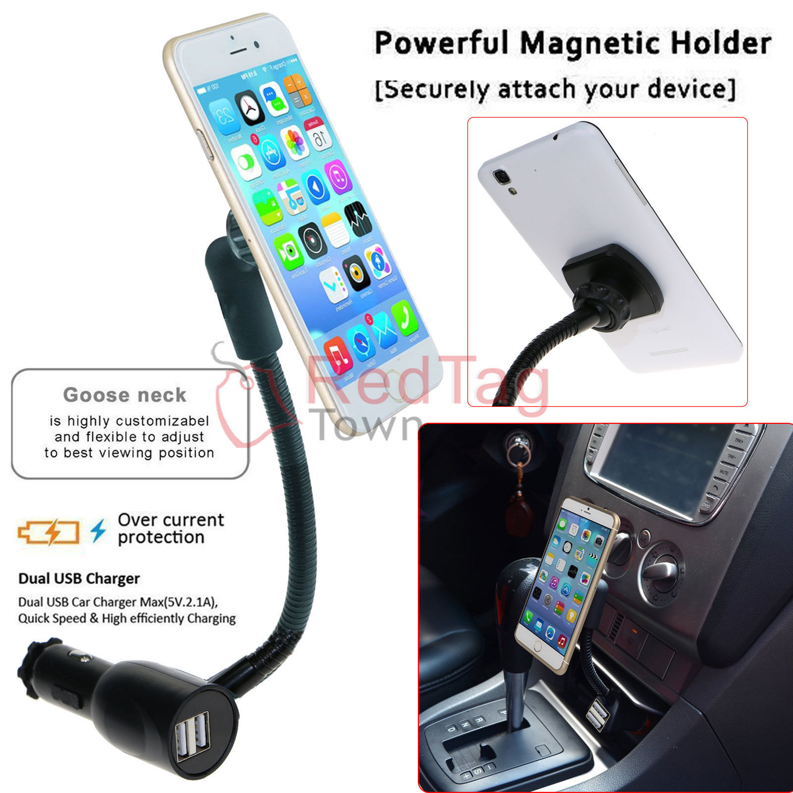 dual usb car charger magnetic holder mount with cigarette. Black Bedroom Furniture Sets. Home Design Ideas