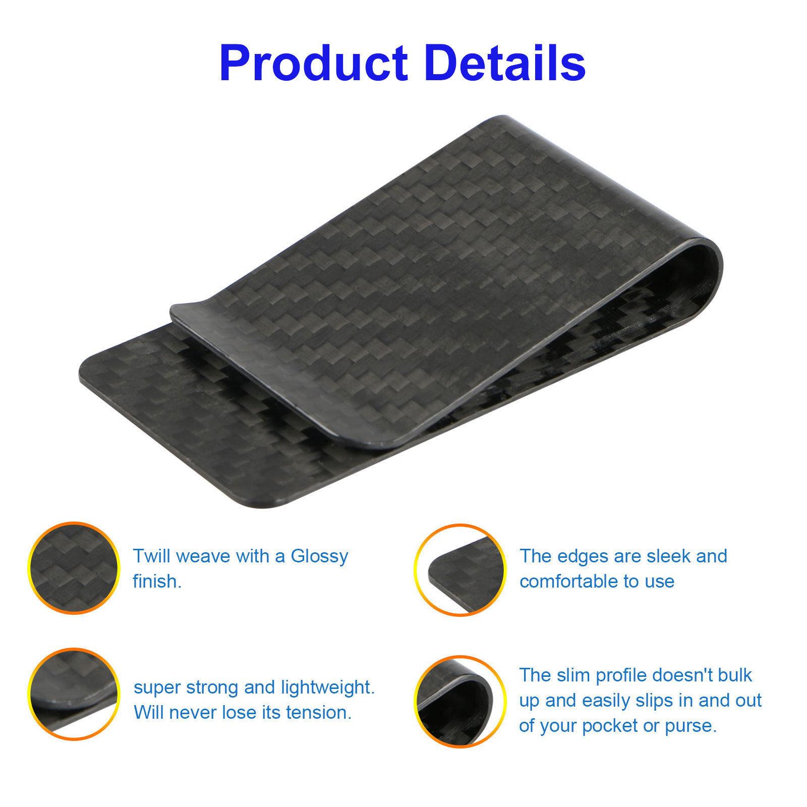 Real Carbon Fiber Money Clip Safepocket Business Credit Card Holder ...
