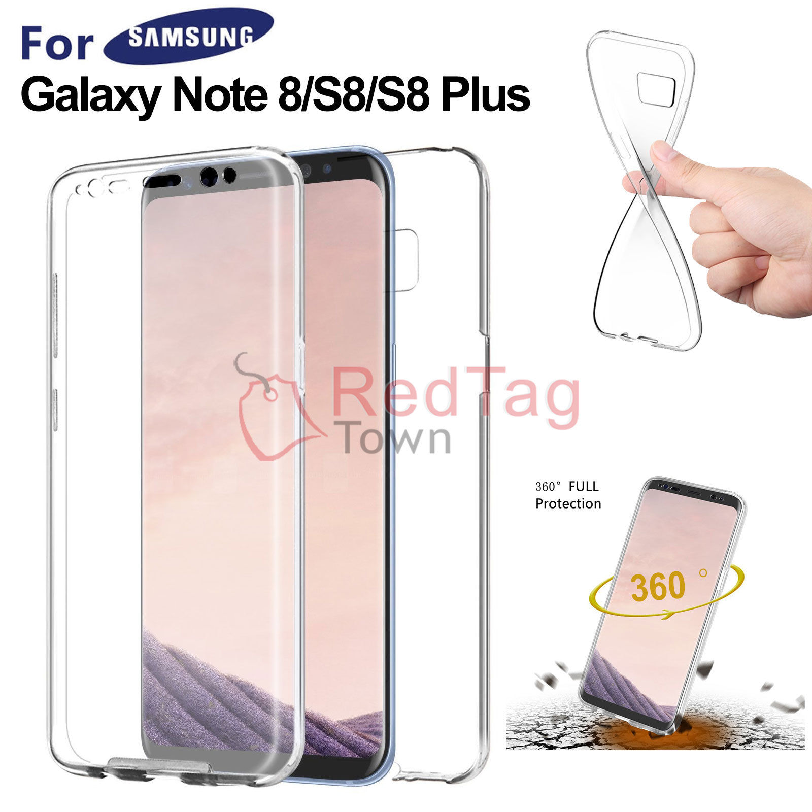 new product cfb9c ebe8b Details about Crystal Clear Full Body Protective Case Cover For Samsung  Galaxy S8 Plus Note 8