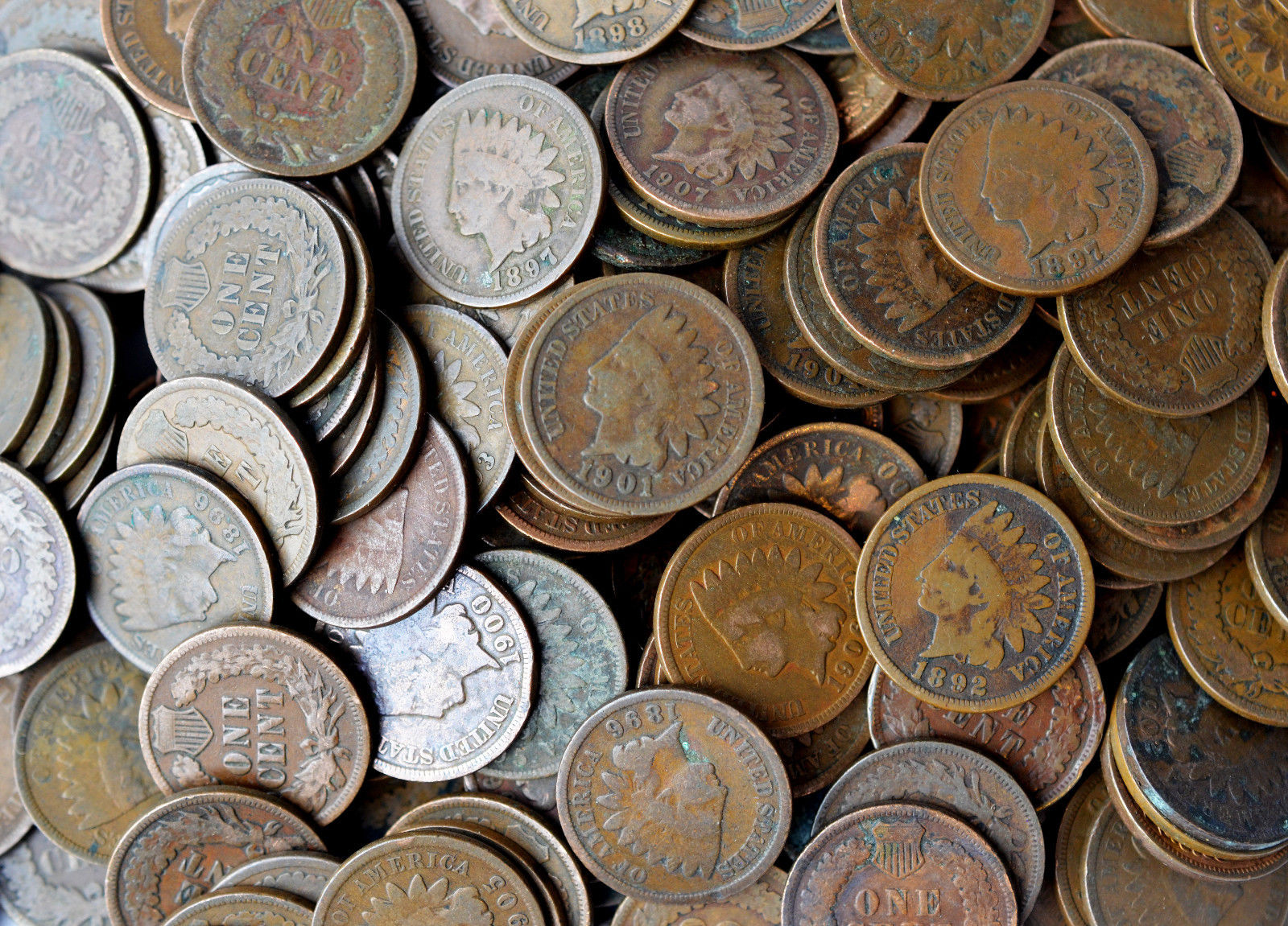 One Roll Of Indian Head Pennies Mixed Dates Lot Circulated CULL CONDITION 50