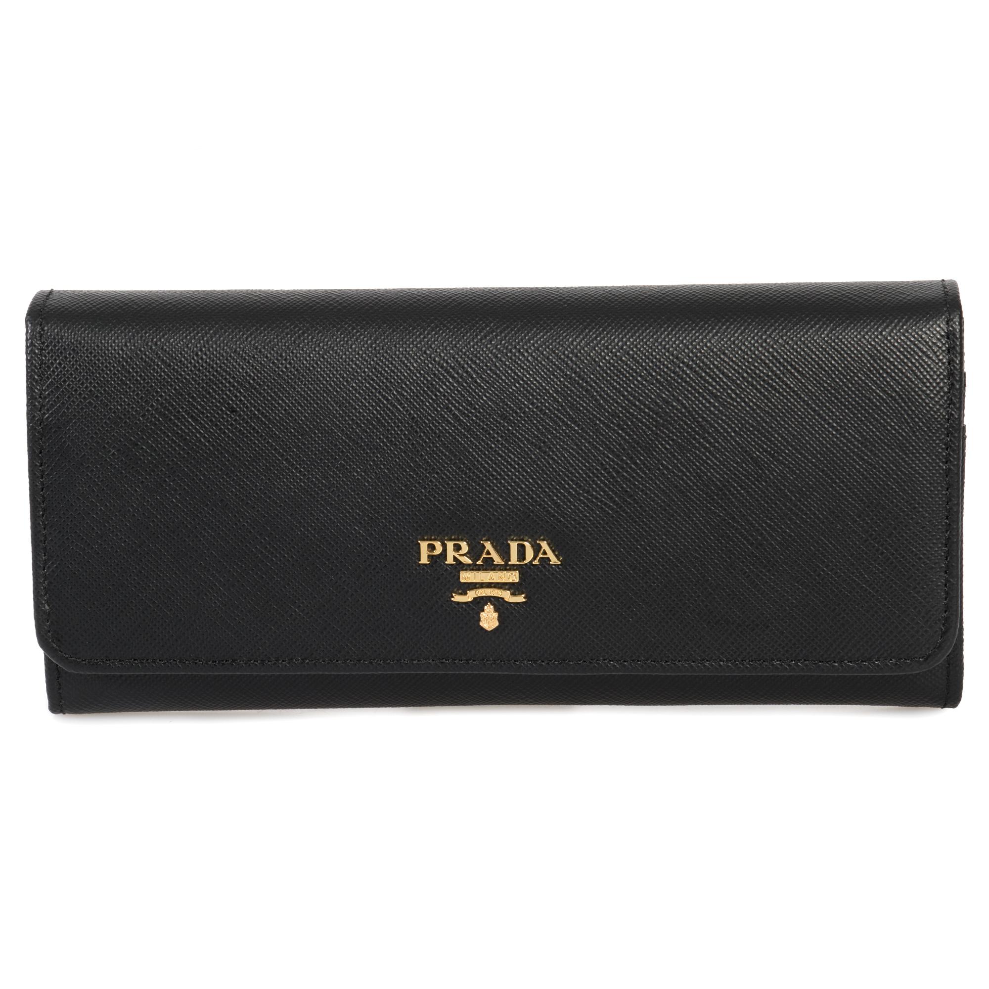 5d215492 Details about Prada Black Saffiano Leather Flap Wallet 1MH132 QWA F0002