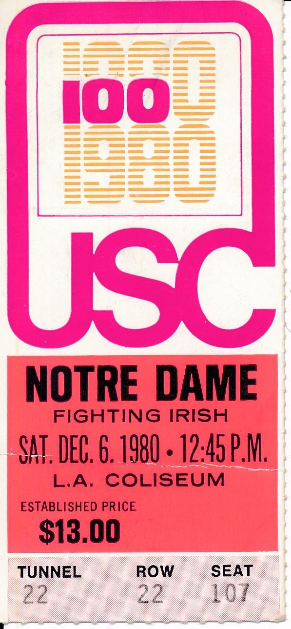 1980 USC Trojans vs. Notre Dame Football Game Ticket Stub ...
