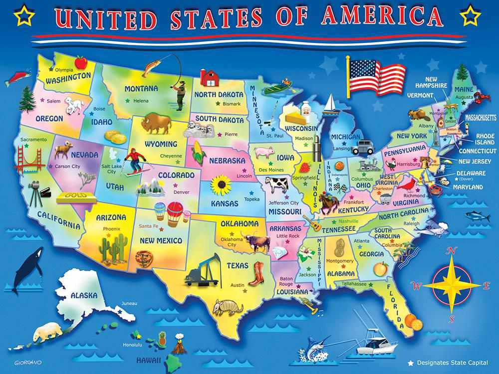 Springbok Usa Map 60 Piece Jigsaw Puzzle 91683305063 Ebay - Puzzle-us-map