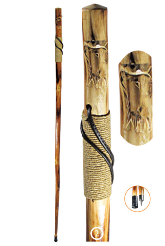 Hand Carved Design Wood Walking Hiking Hike Stick Cane