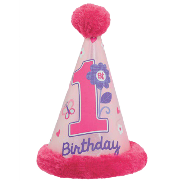 1st Birthday Girl Cone Hat With Faux Fur