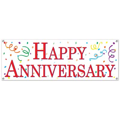 photograph regarding Happy Anniversary Banner Free Printable identified as Information and facts relating to Content Anniversary Indicator Banner 5 Ft x 21 Inch