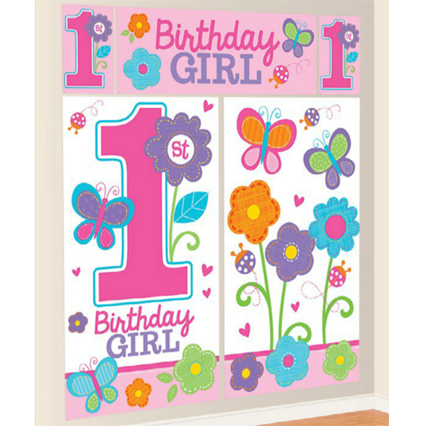 Sweet 1st Birthday Girl Wall Decorating Kit