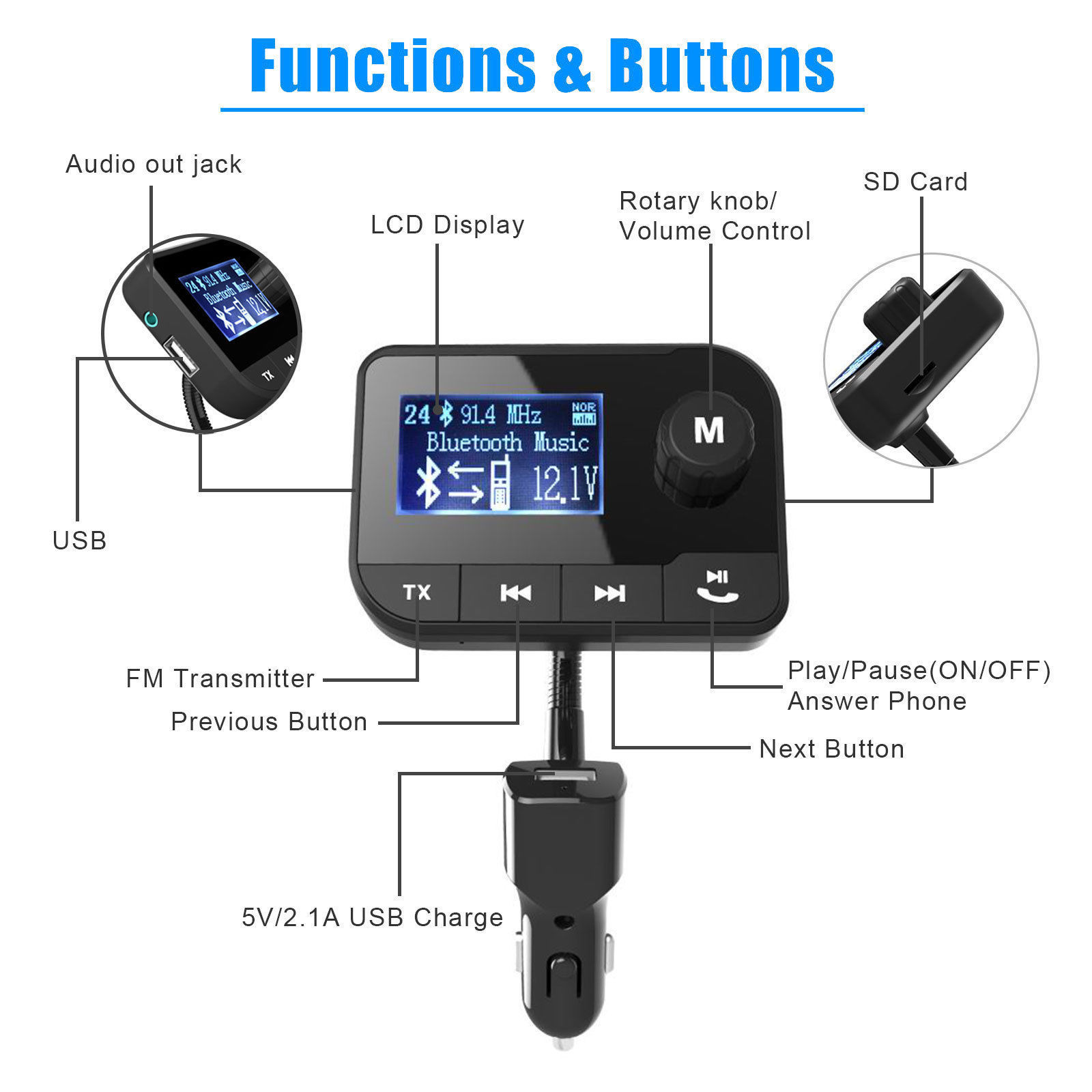 fm transmitter bluetooth hands free lcd mp3 player radio. Black Bedroom Furniture Sets. Home Design Ideas