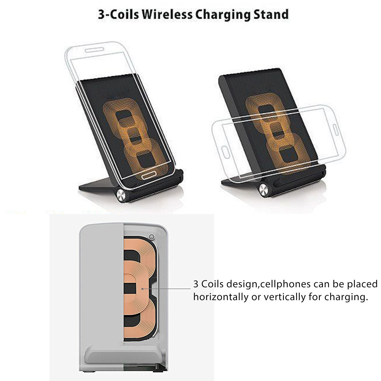 3 coils qi wireless charger charging pad stand foldable. Black Bedroom Furniture Sets. Home Design Ideas