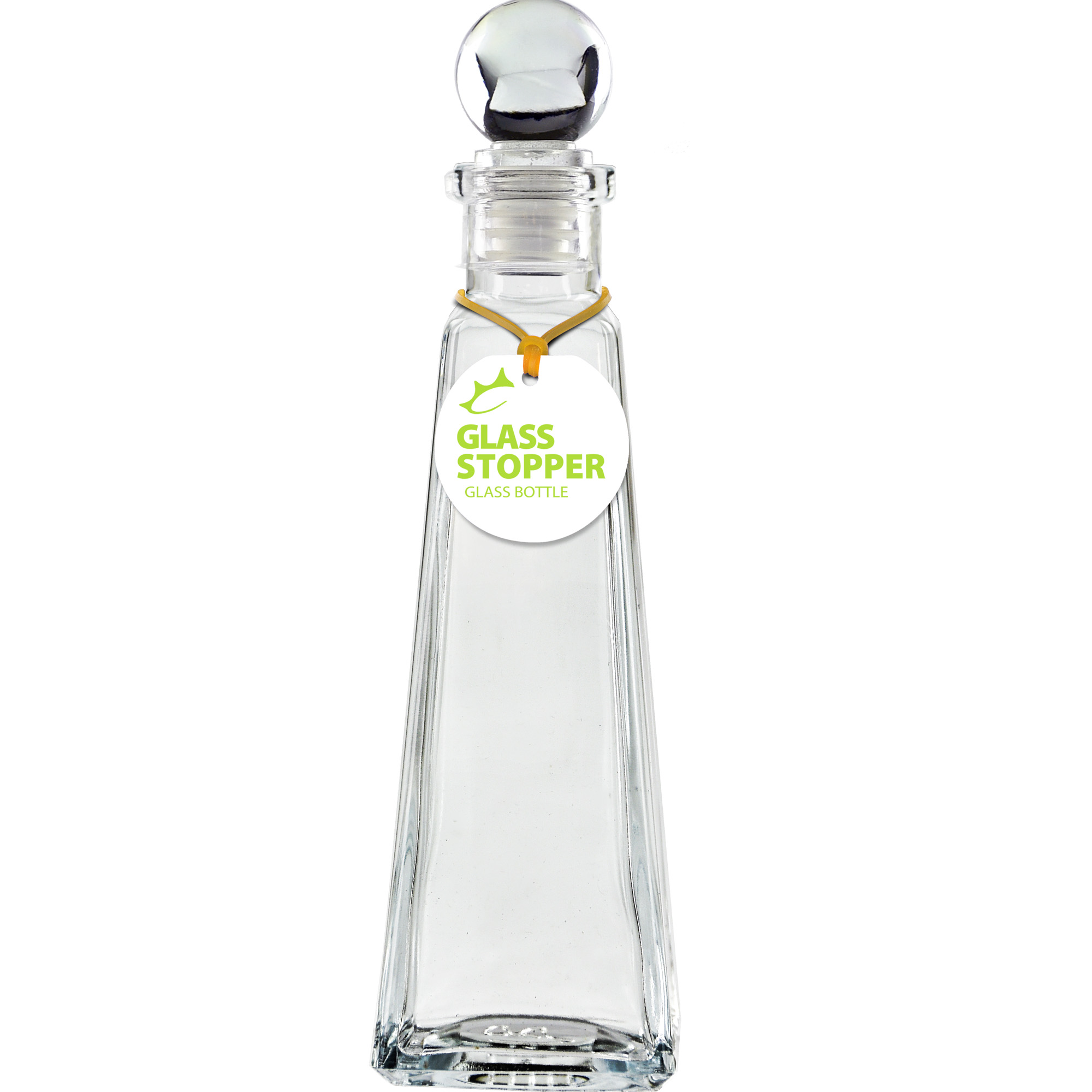 Details about Couronne Co  Pyramid Recycled Glass Bottle with Glass Top,  B6517T, 9 inches tall