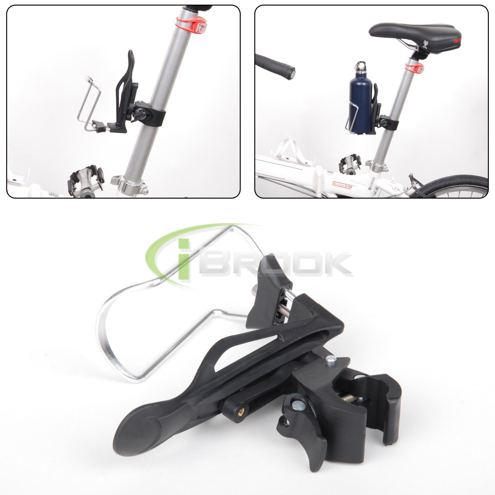 Bike Bicycle Aluminum Alloy Adapter with Handlebar Water Bottle Holder Cages Wit
