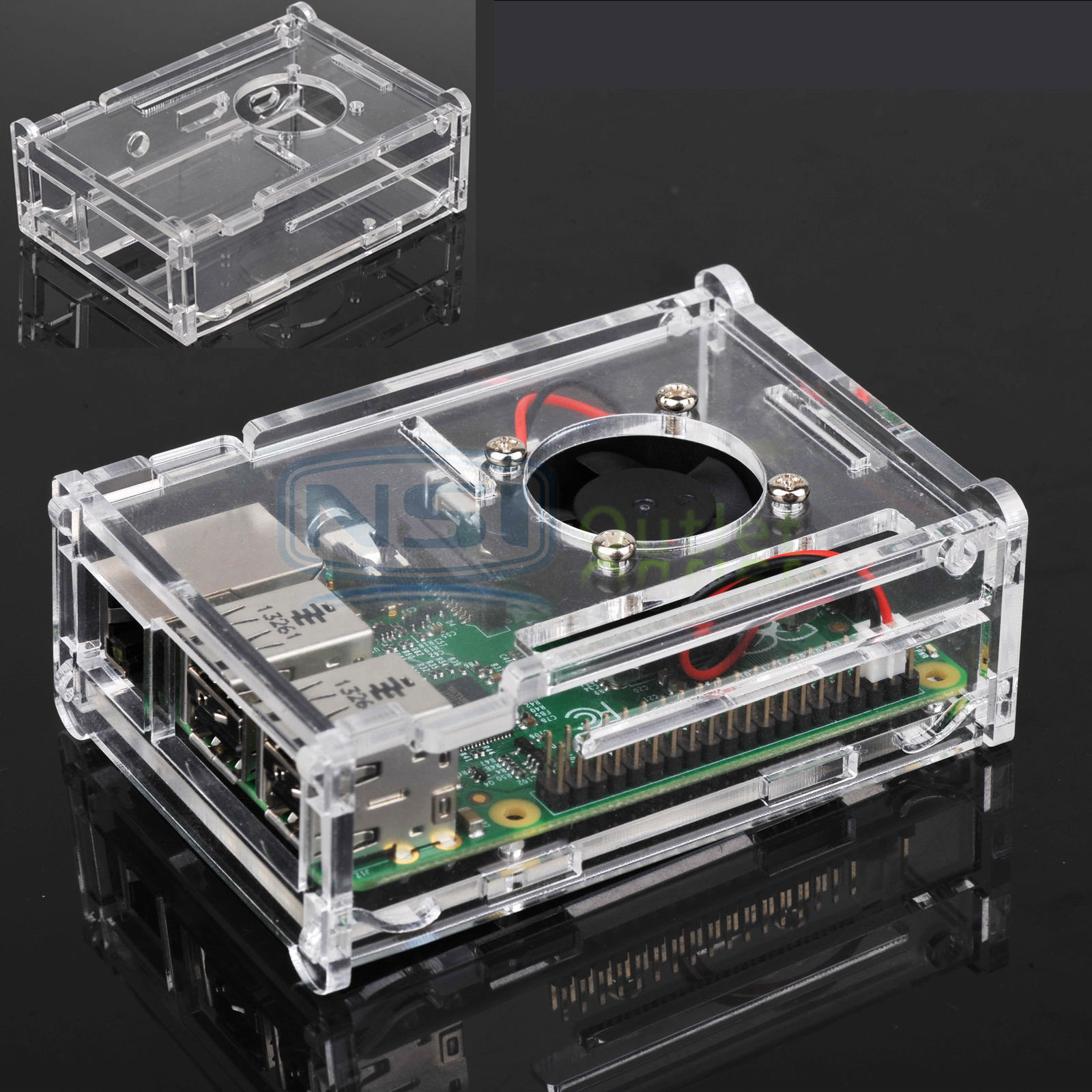 Clear-Case-Enclosure-Box-Cooling-Fan-Heatsink-For-Raspberry-Pi-B-2-3-Model-B thumbnail 29