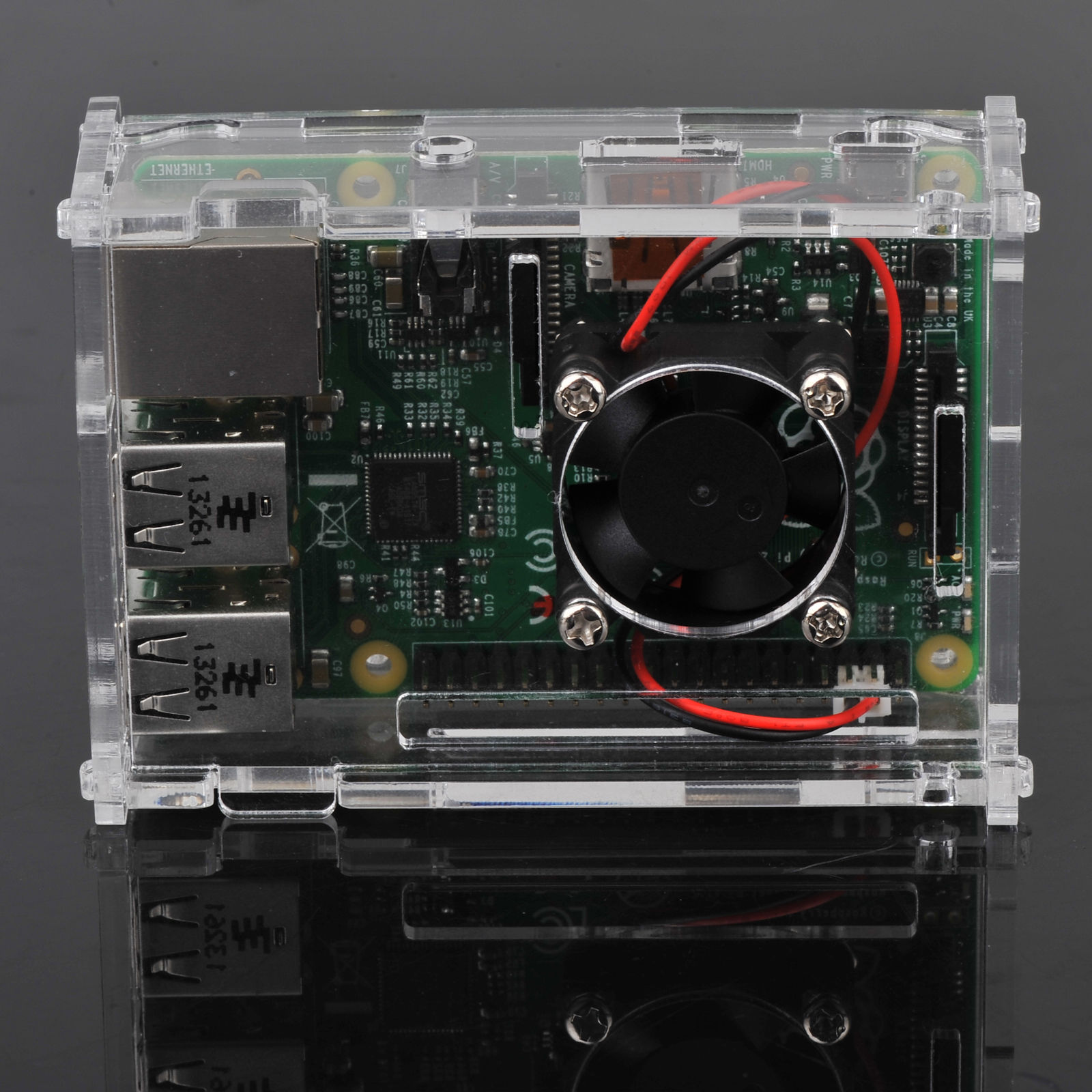 Clear-Acrylic-Case-Shell-Enclosure-Box-Cooling-Fan-For-Raspberry-Pi-2-3-B thumbnail 11