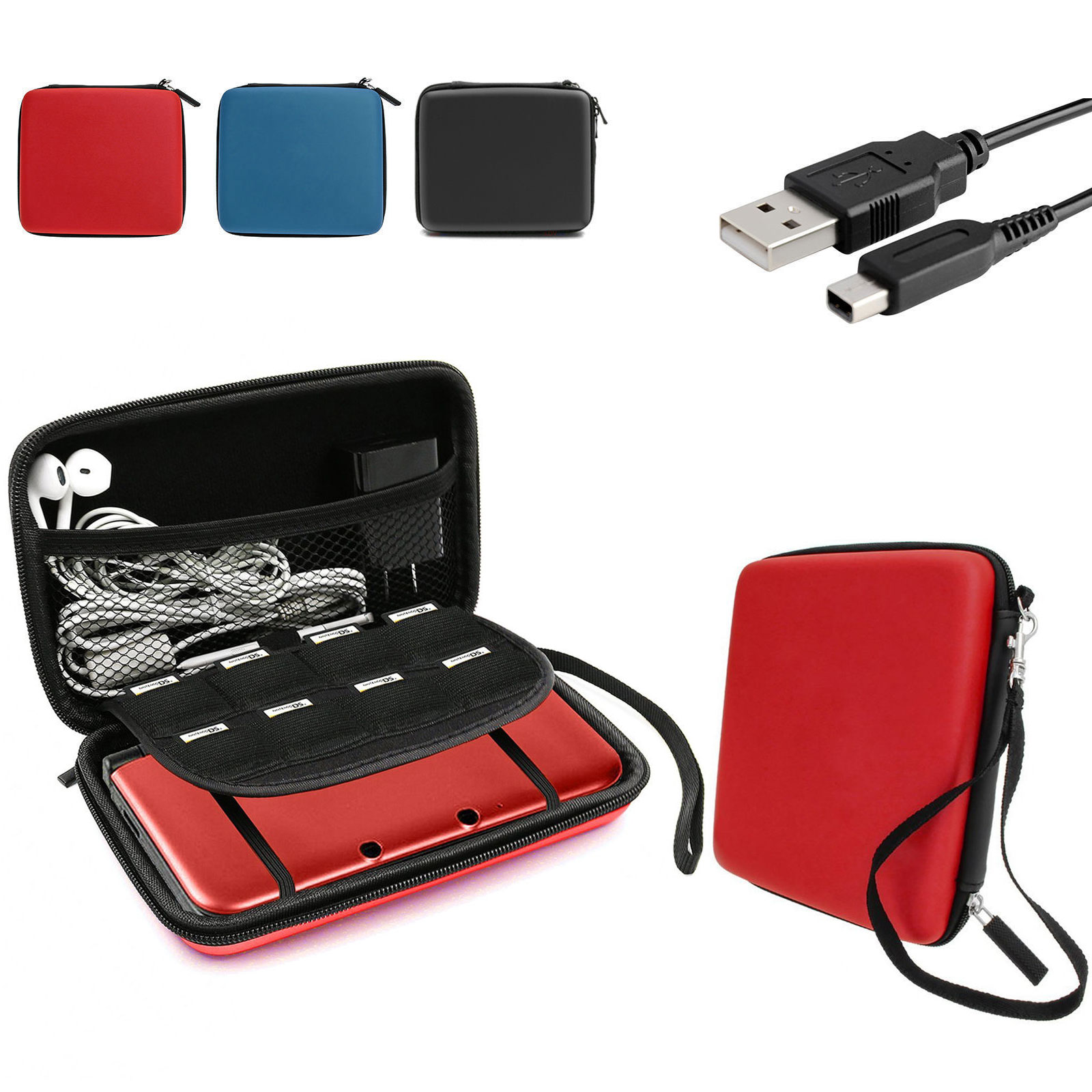 EEEKit-Travel-Carrying-Case-Storage-Charging-Cable-USB-Adapter-for-Nintendo-2DS