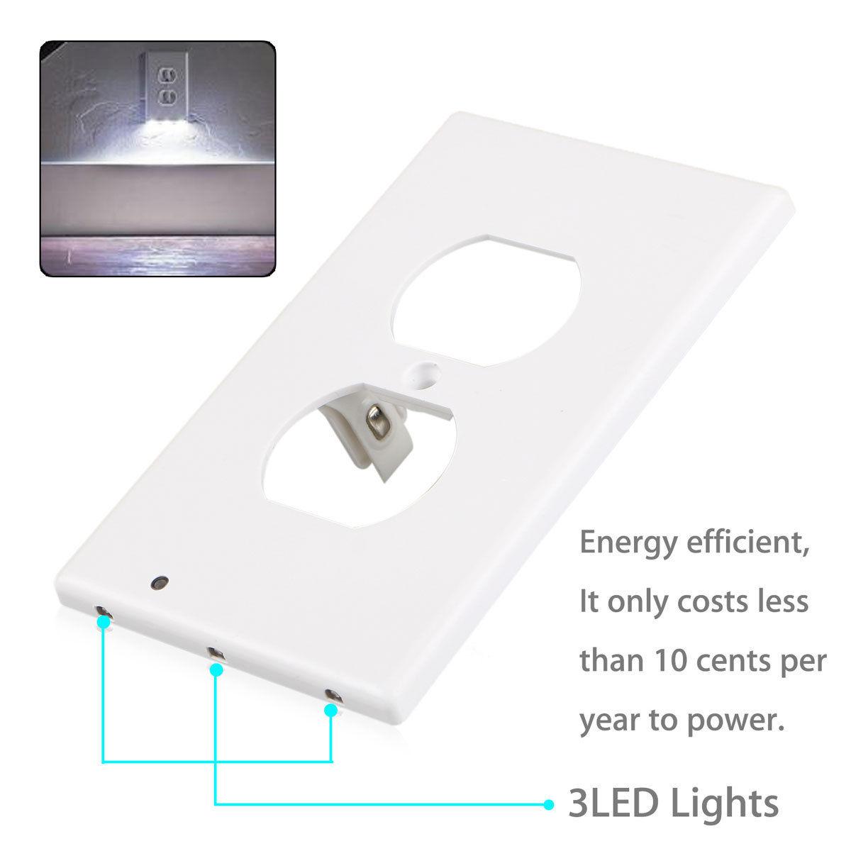 Lot plug cover led light sensor night light wall outlet face lot plug cover led light sensor night light mozeypictures Gallery