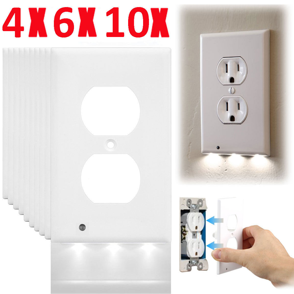 Light And Plug Covers Lot Plug Cover Led Light Sensor Night Light Wall Outlet Face