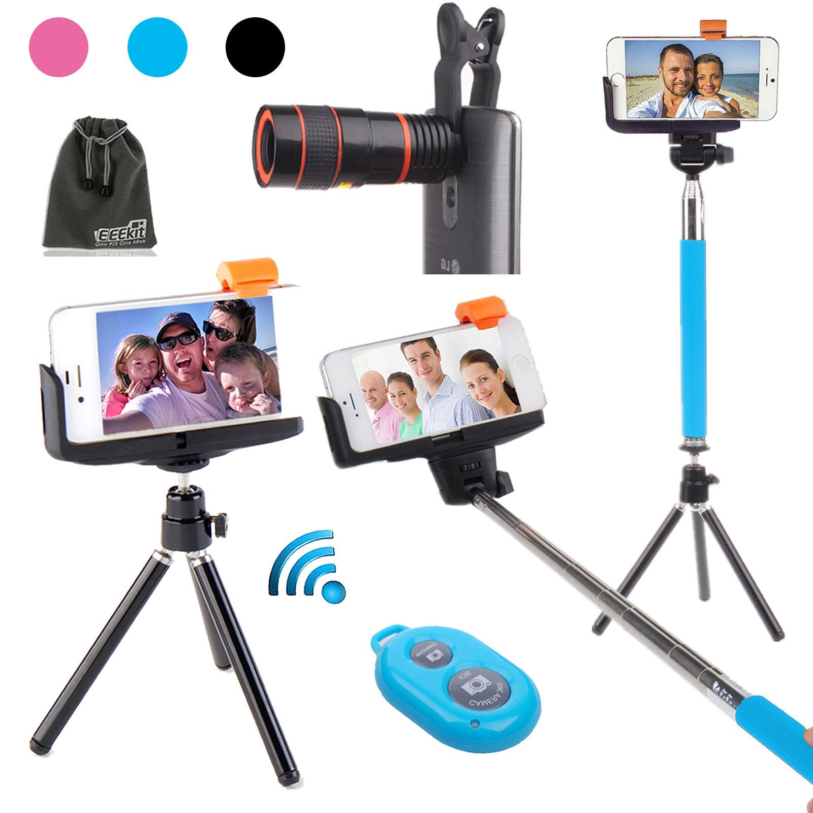 8x zoom lens telescope tripod selfie stick remote shutter for samsung iphone lg ebay. Black Bedroom Furniture Sets. Home Design Ideas