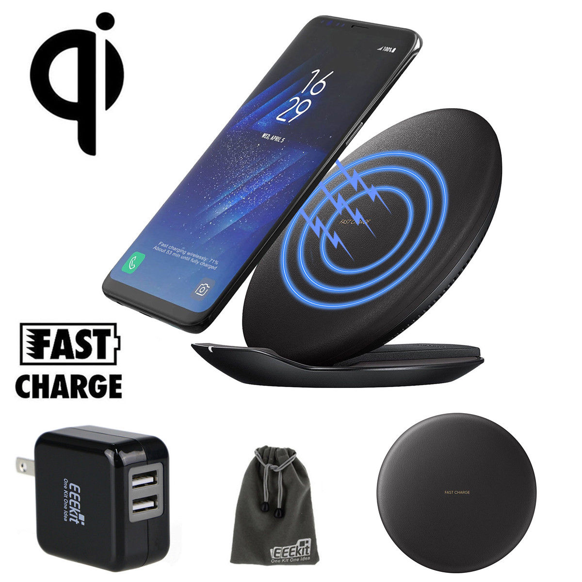 wireless charger fast charging stand pad dock car mount. Black Bedroom Furniture Sets. Home Design Ideas