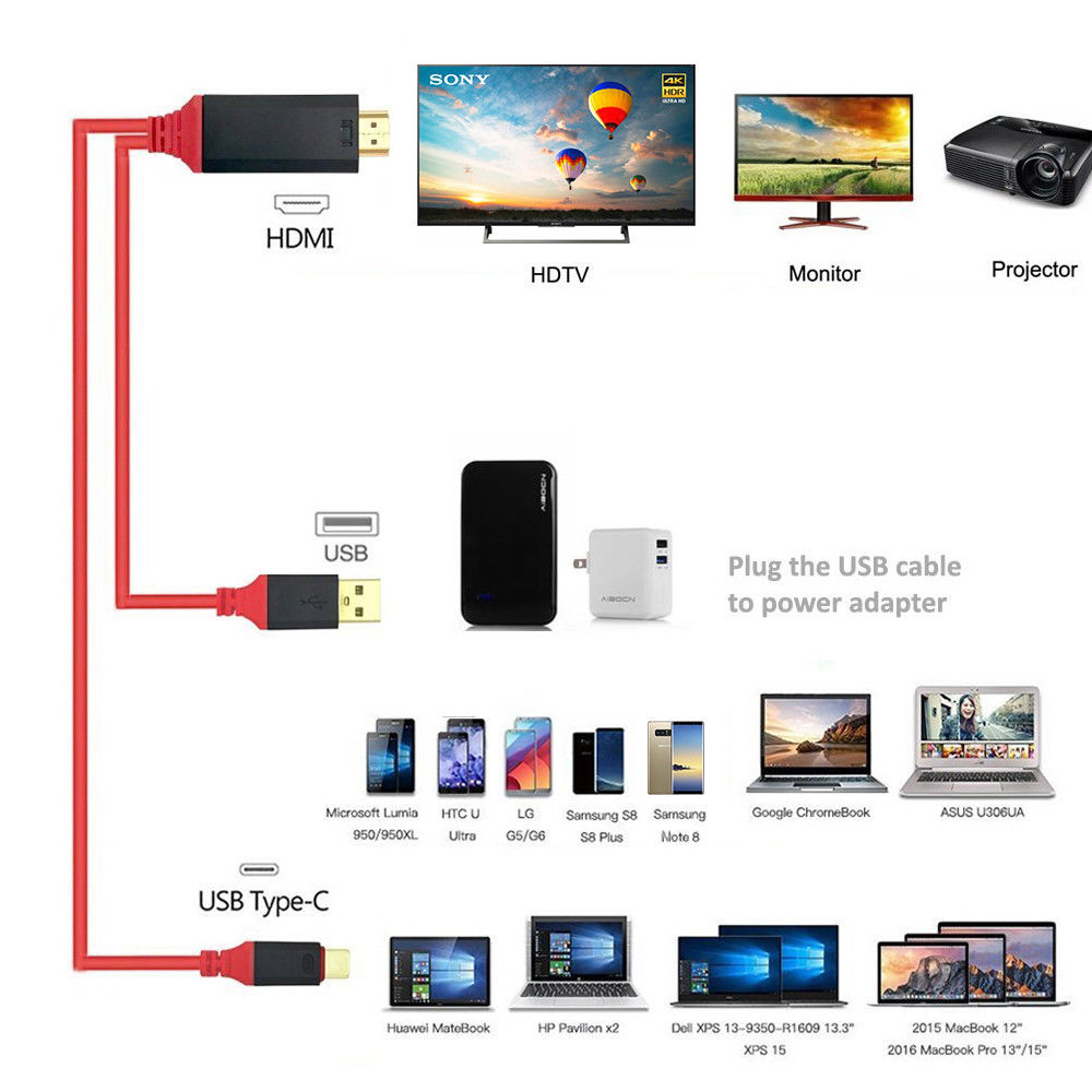 type c usb c to hdmi w charging cable adapter for samsung galaxy s8 s9 plus ebay. Black Bedroom Furniture Sets. Home Design Ideas