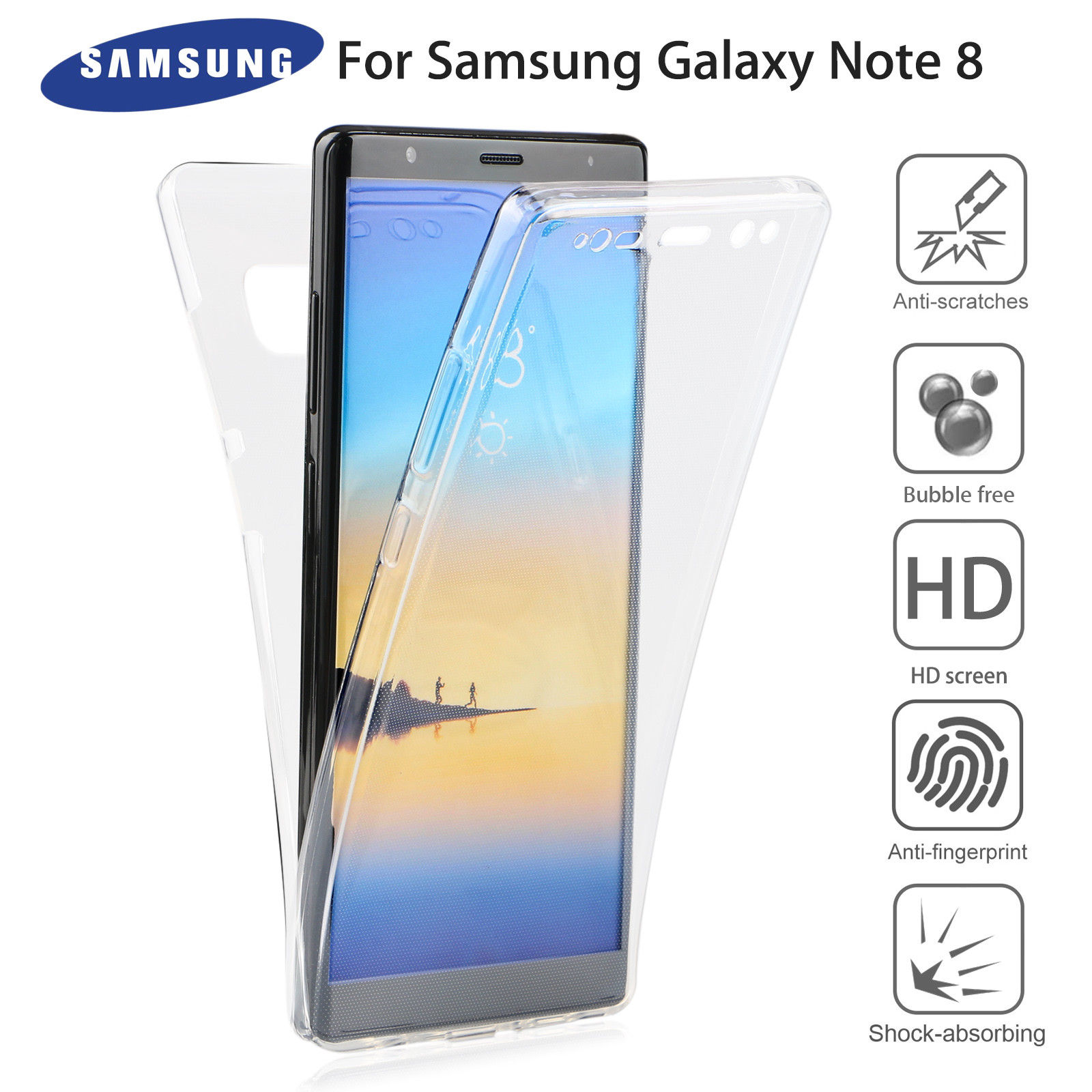 for samsung galaxy note 8 s8 plus s7 edge crystal clear tpu cover full body case ebay. Black Bedroom Furniture Sets. Home Design Ideas
