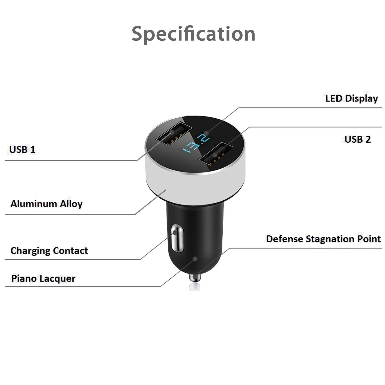 dual usb port car charger 3 1a fast charge led display cigarette rh ebay com car adapter wiring diagram car battery charger wiring diagram