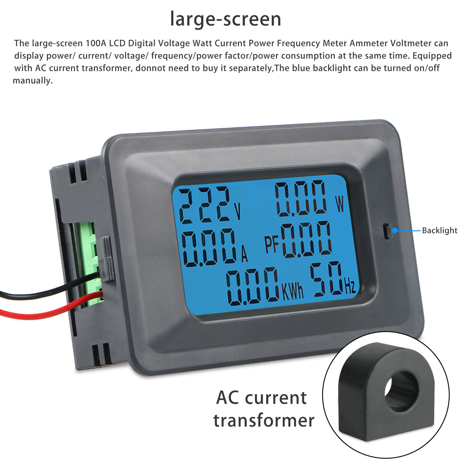 100a Ac Lcd Digital Panel Power Watt Meter Monitor Voltage Kwh Wattmeter With Line Frequency Circuit