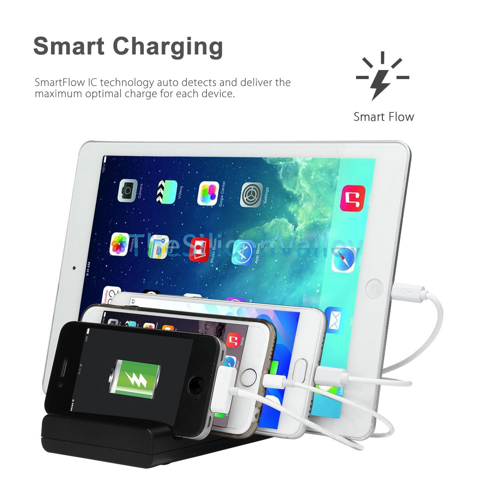 4 port usb hub charging dock station charger stand organizer tablet ipad iphone ebay. Black Bedroom Furniture Sets. Home Design Ideas