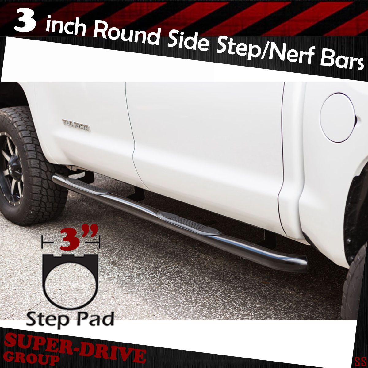 "3/"" BLACK ROUND NERF BARS FOR 2007-2019 TOYOTA TUNDRA DOUBLE CAB RUNNING BOARDS"